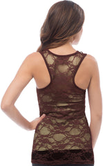 Sheer Nylon Lace Racerback Tank Top - PacificPlex - 40