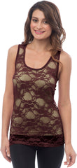 Sheer Nylon Lace Racerback Tank Top - PacificPlex - 41