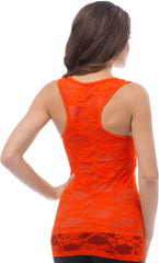 Sheer Nylon Lace Racerback Tank Top - PacificPlex - 42