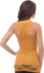 Sheer Nylon Lace Racerback Tank Top - PacificPlex - 44