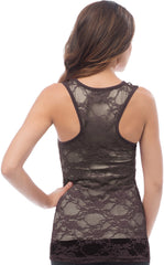 Sheer Nylon Lace Racerback Tank Top - PacificPlex - 46