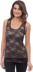 Sheer Nylon Lace Racerback Tank Top - PacificPlex - 47