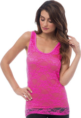Sheer Nylon Lace Racerback Tank Top - PacificPlex - 49