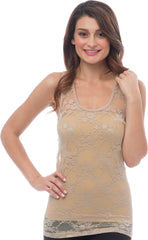 Sheer Nylon Lace Racerback Tank Top - PacificPlex - 53