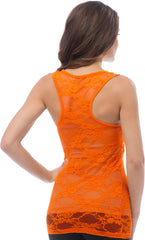 Sheer Nylon Lace Racerback Tank Top - PacificPlex - 54