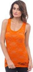 Sheer Nylon Lace Racerback Tank Top - PacificPlex - 55