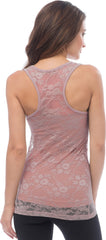 Sheer Nylon Lace Racerback Tank Top - PacificPlex - 56