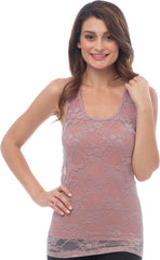 Sheer Nylon Lace Racerback Tank Top - PacificPlex - 57