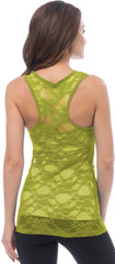 Sheer Nylon Lace Racerback Tank Top - PacificPlex - 58
