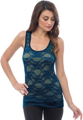 Sheer Nylon Lace Racerback Tank Top - More Colors - PacificPlex - 61