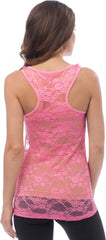 Sheer Nylon Lace Racerback Tank Top - PacificPlex - 62