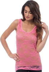 Sheer Nylon Lace Racerback Tank Top - PacificPlex - 63