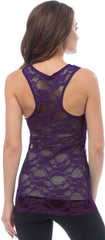Sheer Nylon Lace Racerback Tank Top - PacificPlex - 64
