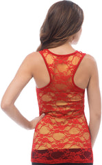 Sheer Nylon Lace Racerback Tank Top - PacificPlex - 66