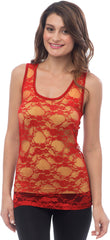 Sheer Nylon Lace Racerback Tank Top - PacificPlex - 67