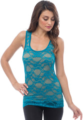 Sheer Nylon Lace Racerback Tank Top - PacificPlex - 69