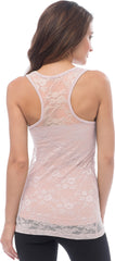 Sheer Nylon Lace Racerback Tank Top - PacificPlex - 70