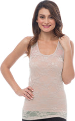 Sheer Nylon Lace Racerback Tank Top - PacificPlex - 71