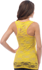 Sheer Nylon Lace Racerback Tank Top - PacificPlex - 72