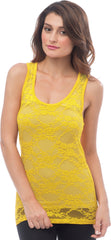Sheer Nylon Lace Racerback Tank Top - PacificPlex - 73