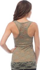 Sheer Nylon Lace Racerback Tank Top - More Colors - PacificPlex