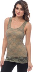 Sheer Nylon Lace Racerback Tank Top - PacificPlex