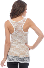 Sheer Nylon Lace Racerback Tank Top - PacificPlex - 13