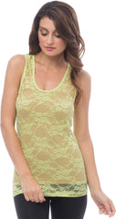 Sheer Nylon Lace Racerback Tank Top - PacificPlex - 16