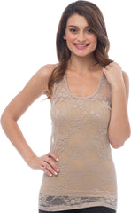 Sheer Nylon Lace Racerback Tank Top - PacificPlex - 18