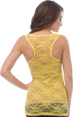 Sheer Nylon Lace Racerback Tank Top - PacificPlex - 21