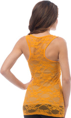 Sheer Nylon Lace Racerback Tank Top - PacificPlex - 23