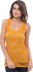 Sheer Nylon Lace Racerback Tank Top - PacificPlex - 24