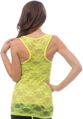 Sheer Nylon Lace Racerback Tank Top - More Colors - PacificPlex - 24