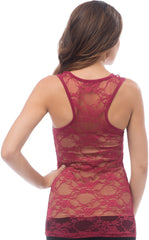 Sheer Nylon Lace Racerback Tank Top - PacificPlex - 26