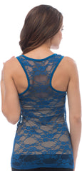 Sheer Nylon Lace Racerback Tank Top - More Colors - PacificPlex - 28