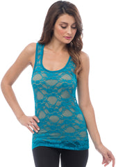 Sheer Nylon Lace Racerback Tank Top - PacificPlex - 31