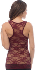 Sheer Nylon Lace Racerback Tank Top - PacificPlex - 32