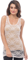 Sheer Nylon Lace Racerback Tank Top - PacificPlex - 35