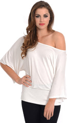 Kimono Off-Shoulder Tee T-shirt Top - PacificPlex - 84