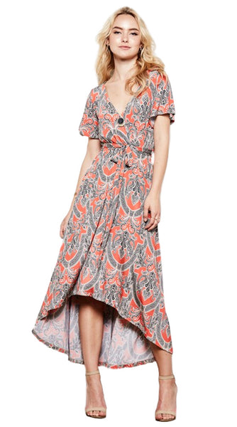 Knee-Length Faux Wrap Damask Print High-Low Dress