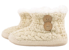 Cable Knit Faux Shearling Lined Bootie Slippers - PacificPlex