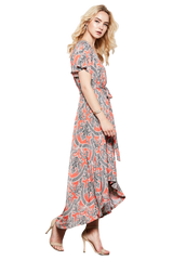 Knee-Length Faux Wrap Damask Print High-Low Dress - PacificPlex
