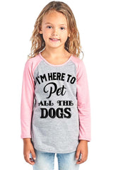Girl's Graphic Baseball Tee - I'm Here to Pet All the Dogs - PacificPlex