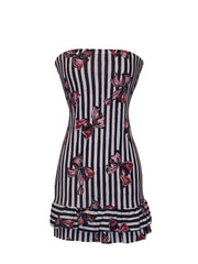Strapless Jersey Striped Bow Print Ruffle Tube Mini Dress Sundress - PacificPlex