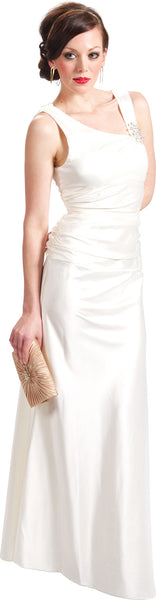 Cowl-Back Satin Long Prom Dress Crystal Pin
