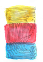 3 Colour Abstract, Primary Colours, Watercolour on Paper, 2013, vfitzartist