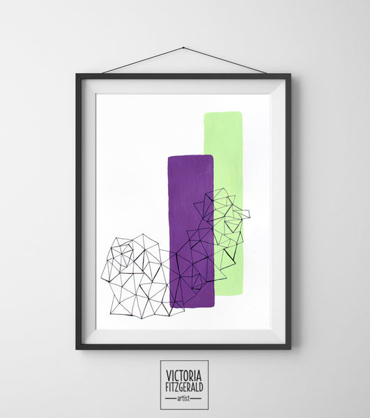 Radiant Orchid and Mint Abstract Geometric Art Print - vfitzartist
