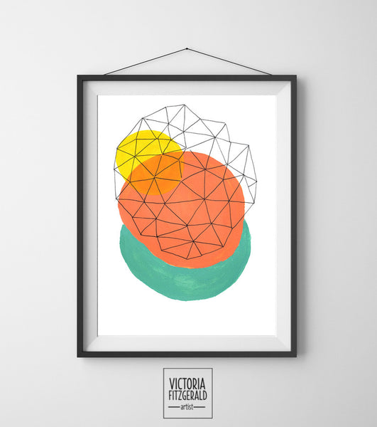 Coral Turquoise and Yellow Abstract Geometric Art Print - vfitzartist  - 1
