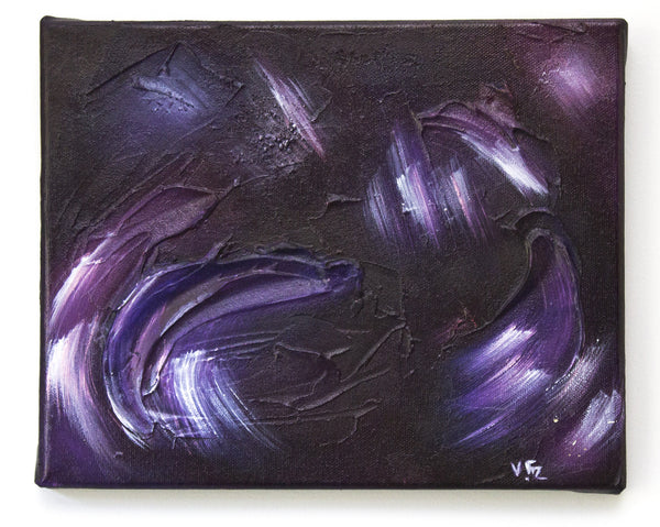 "Original Small Abstract Canvas Art ""Amaranthine Comets"" 8x10 inch Small Painting - Galaxies Mini Series - vfitzartist  - 1"