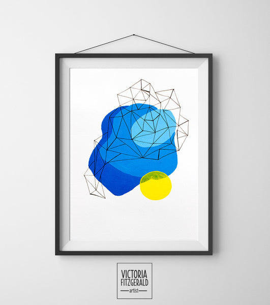 Light Blue and Yellow Abstract Geometric Art Print - vfitzartist  - 1